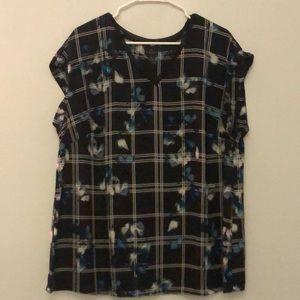 Black plaid flower blouse